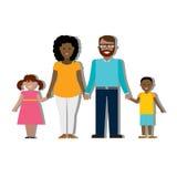 Multiculturele familie op wit Stock Foto's