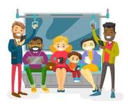 Multiculturele mensen die door openbaar vervoer reizen vector illustratie