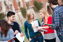Multiculturele Studenten bij Park Stock Foto's
