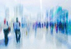 Multidão abstrata de trabalhos em rede dos povos no Cyberspace fotos de stock