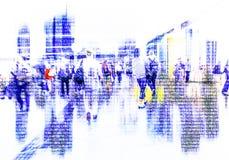 Multidão abstrata de trabalhos em rede dos povos no Cyberspace imagens de stock