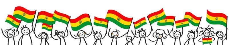 Multidão Cheering de figuras felizes da vara com as bandeiras nacionais bolivianas, suportes de sorriso de Bolívia, bandeira dos  ilustração do vetor