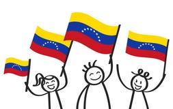 Multidão Cheering de figuras felizes da vara com as bandeiras nacionais venezuelanas, suportes de sorriso da Venezuela, fãs de es ilustração stock
