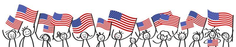 A multidão Cheering de vara feliz figura com as bandeiras nacionais americanas, suportes dos EUA que sorriem e que acenam a bande ilustração do vetor