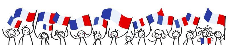 A multidão Cheering de vara feliz figura com as bandeiras nacionais francesas, suportes de França que sorriem e que acenam bandei ilustração do vetor