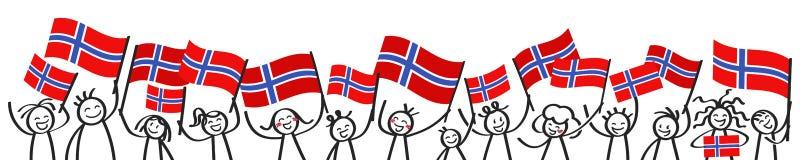 A multidão Cheering de vara feliz figura com as bandeiras nacionais norueguesas, suportes de sorriso de Noruega, fãs de esportes ilustração royalty free