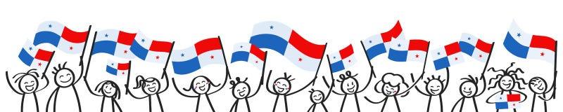 A multidão Cheering de vara feliz figura com as bandeiras nacionais panamenses, suportes de sorriso de Panamá, fãs de esportes ilustração stock