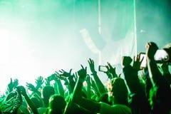 Multidão Cheering no festival de música, adolescentes que têm o divertimento imagem de stock royalty free