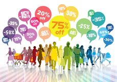 Multidão colorida da compra Fotos de Stock