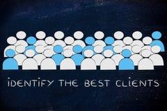 A multidão com os povos que estão sendo selecionados e o texto identificam o melhor clie imagens de stock royalty free