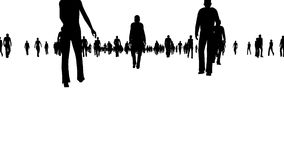 Multidão da silhueta que anda no branco ilustração stock