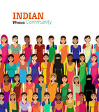 Multidão de avatars indianos do vetor das mulheres ilustração stock