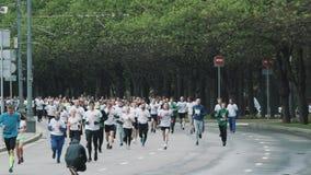 Multidão de basculadores desportivos que correm a maratona na estrada no parque da cidade vídeos de arquivo