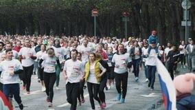 Multidão de basculadores saudáveis que correm a maratona na estrada no parque da cidade vídeos de arquivo