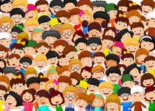Multidão de desenhos animados das crianças Imagens de Stock