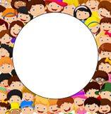 Multidão de desenhos animados das crianças com espaço vazio Imagem de Stock