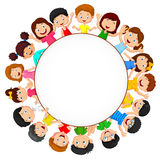 Multidão de desenhos animados das crianças com espaço vazio Foto de Stock Royalty Free