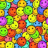 Multidão de emoticons de sorriso Sorri o teste padrão do ícone Fotos de Stock Royalty Free