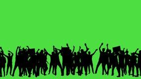 Multidão de fãs que dançam na tela verde Concerto, salto, dançando, mãos acima video estoque