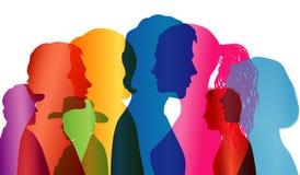 Multidão de fala Diálogo entre povos Perfis coloridos da silhueta Vetor da exposição múltipla ilustração stock
