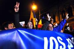 Multidão de povos durante um protesto da rua Imagens de Stock