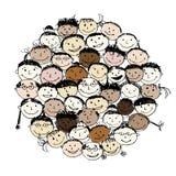 Multidão de povos engraçados, esboço para seu projeto ilustração do vetor