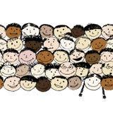 Multidão de povos engraçados, fundo sem emenda para ilustração stock