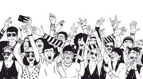 Multidão de povos entusiasmado ou de fan de música com mãos levantadas Espectadores ou audiência da mão do festival do ar livre d ilustração do vetor
