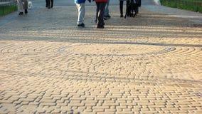 A multidão de povos está andando no parque video estoque