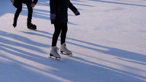 A multidão de povos está patinando na pista de gelo em Sunny Day Movimento lento video estoque