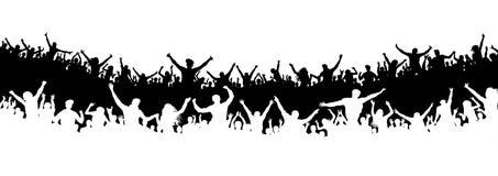Multidão de povos no estádio Multidão de fãs de esportes Vetor da silhueta bandeira, cartaz ilustração do vetor