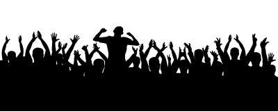 Multidão de silhueta rejubilante dos povos Fãs de esportes Os povos aplaudem Concerto, partido, disco Imagens de Stock