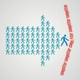A multidão de trabalhadores segue o líder da equipa e divide os comp(s) Imagens de Stock