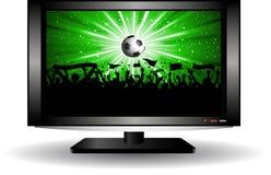 Multidão do futebol na televisão do LCD Imagens de Stock