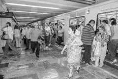 Multidão do metro de Cidade do México na manhã Fotografia de Stock Royalty Free