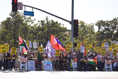 Multidão do protesto de Israel Palestenian Imagem de Stock
