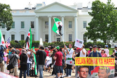 Multidão do protesto na casa branca Imagens de Stock Royalty Free
