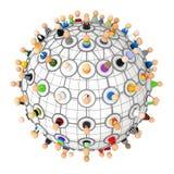 Multidão dos desenhos animados, esfera da planta da ligação Imagens de Stock Royalty Free
