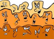 Multidão dos desenhos animados - faces irritadas Foto de Stock Royalty Free