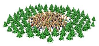 Multidão dos desenhos animados, Forest Circle ilustração do vetor