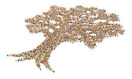 Multidão dos desenhos animados, forma da árvore Foto de Stock Royalty Free