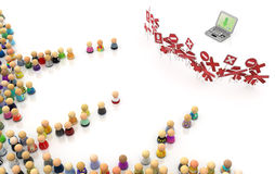 Multidão dos desenhos animados, portátil restringido Imagem de Stock Royalty Free