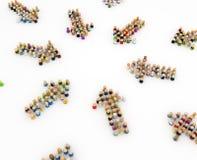 Multidão dos desenhos animados, setas do grupo Fotografia de Stock
