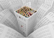 Multidão dos desenhos animados, telhado da construção da cidade ilustração stock