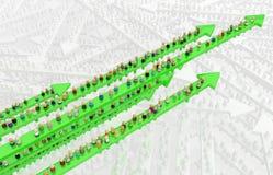 Multidão dos desenhos animados, verde do movimento Fotos de Stock Royalty Free