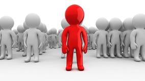 multidão enorme dos povos dos seres humanos dos desenhos animados 3d com líder ilustração royalty free