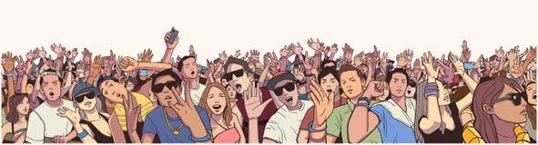 Multidão estilizado do festival da ilustração no concerto vivo que partying e que tem o divertimento ilustração royalty free