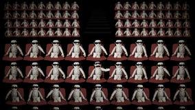 Multidão grande de fantoches que vestem vidros e vaiar do Anaglyph 3D ilustração do vetor