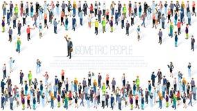 Multidão isométrica dos povos ilustração do vetor