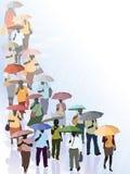 Multidão na chuva Imagem de Stock Royalty Free